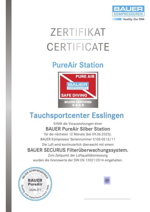 Zertifikat BAUER Kompressor Seriennummer 5105-0513/11