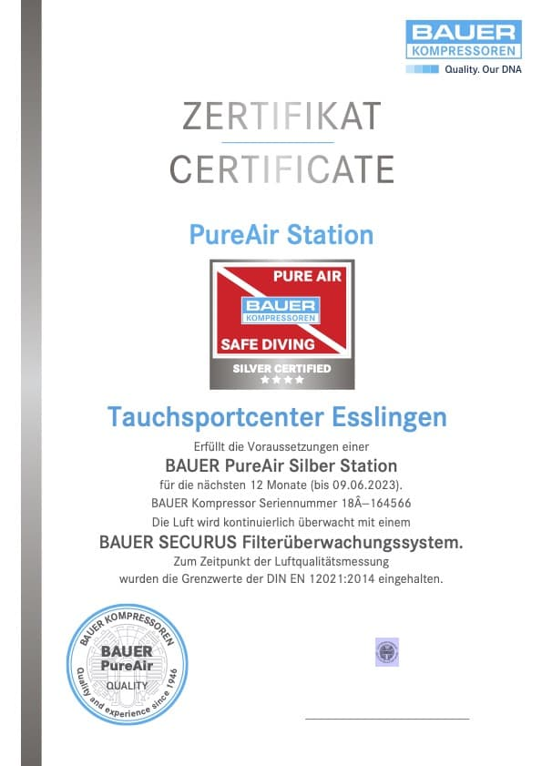 Zertifikat BAUER Kompressor Seriennummer 18Â--164566